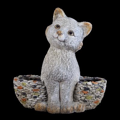 Sharpex cat shape Pot Garden Statue(stone)