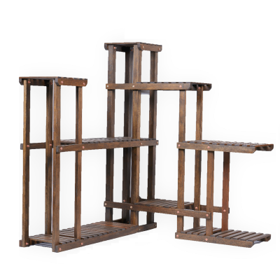 Sharpex Plant Stand Rack Indoor 6 Tier Wood Plant  Storage Rack brown