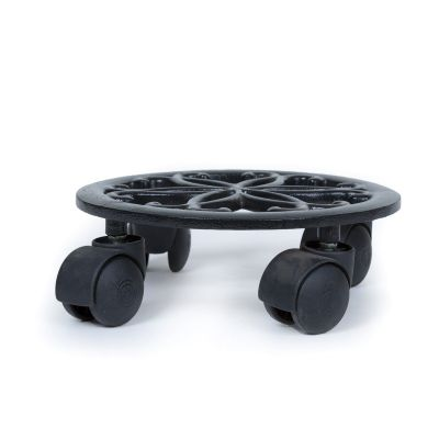 Sharpex Metal Trolley Casters with Rolling Wheels for Garden and Home - Black