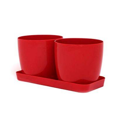 Twin Morden Flower Pot - Red( POT-TS-R5-190 )