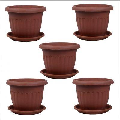 Pots4Nature Small Round Elegant Planter 5 Pieces Pots