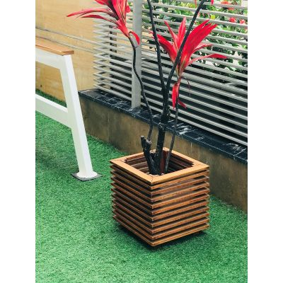 Sharpex Wooden Plant Pot Cover (Brown)