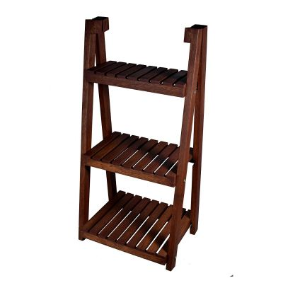 Sharpex Wooden Plant Stand with Foldable Ladder Shelf - 3 Tier