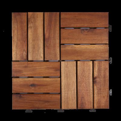 """Acacia Wood Deck Tiles, Water Resistant Indoor & Outdoor Tiles 12""""×12"""" - 10 PC"""