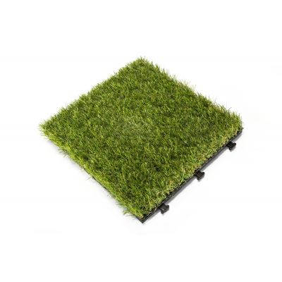 Artificial Grass Deck Tiles with Interlocking, Wooden Water Resistant Flooring Tiles - 6 PC
