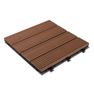 Wood and Plastic Material Deck Tiles with Interlocking - 6 PC